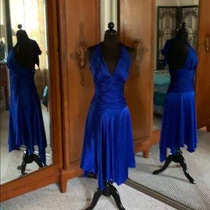 Bombshell! Blue Silk Halter Dress